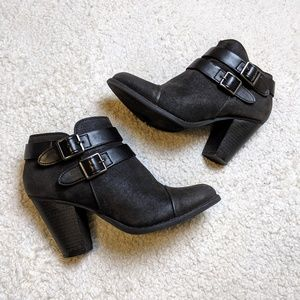 Lauren Conrad Black Buckle Booties